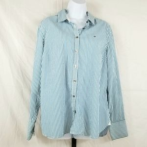 Tommy Hilfiger Blue & White Striped Collared Shirt